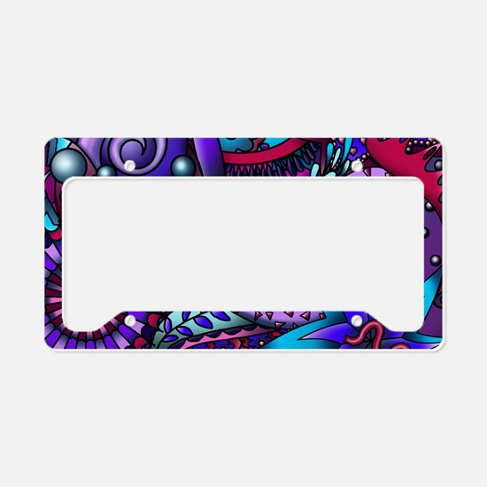 Blue and Purple Paisley License Plate Holder