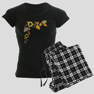 Thanksgiving Border Women's Dark Pajamas