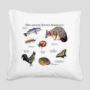 Delaware State Animals Square Canvas Pillow