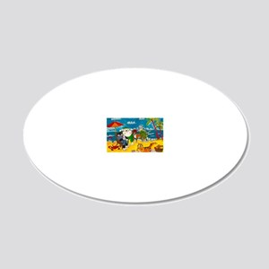 Cats on the beach 20x12 Oval Wall Decal