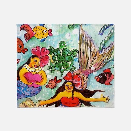 Mermaids under the sea Throw Blanket