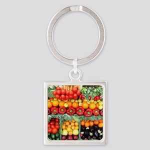 fruits and veggies Square Keychain
