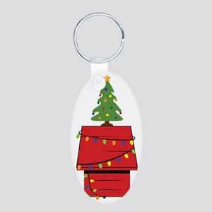 Holiday Dog House Aluminum Oval Keychain