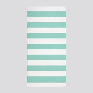 Mint And White Stripe Beach Towel