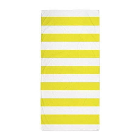 Yellow And White Stripe Beach Towel