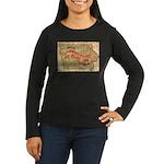 Flat Iowa Women's Long Sleeve Dark T-Shirt