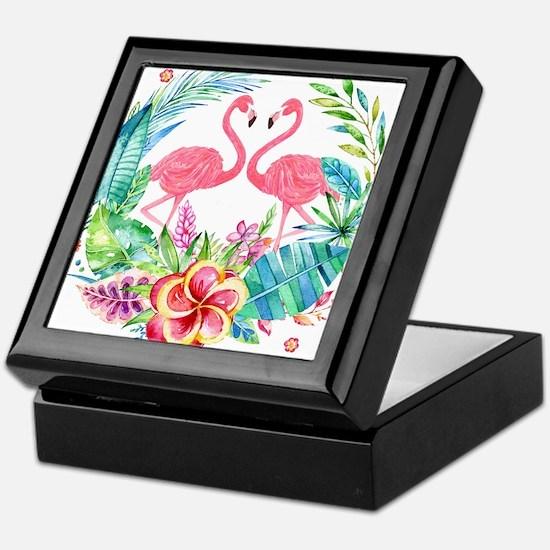 Flamingos With Colorful Tropical Wrea Keepsake Box