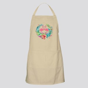 Flamingos With Colorful Tropical Wreat Light Apron