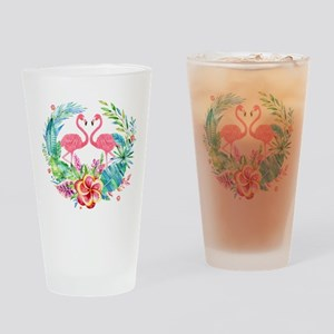 Flamingos With Colorful Tropical Wr Drinking Glass
