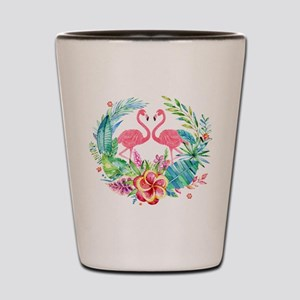 Flamingos With Colorful Tropical Wreath Shot Glass