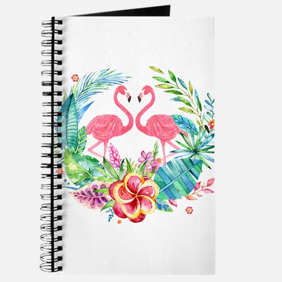 Flamingos With Colorful Tropical Wreath Journal