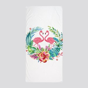 Flamingos With Colorful Tropical Wreat Beach Towel