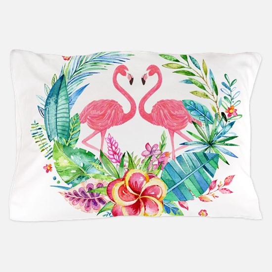 Flamingos With Colorful Tropical Wreat Pillow Case