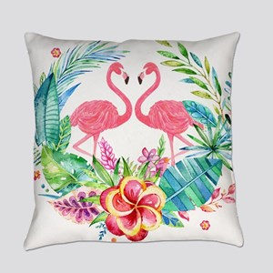 Flamingos With Colorful Tropical W Everyday Pillow