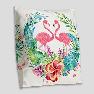 Flamingos With Colorful Tropic Burlap Throw Pillow