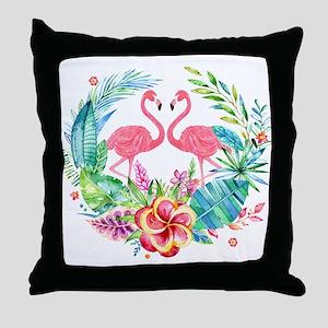 Flamingos With Colorful Tropical Wrea Throw Pillow