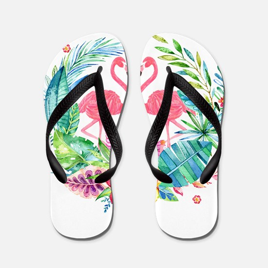 Flamingos With Colorful Tropical Wreath Flip Flops