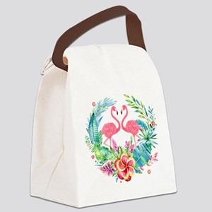 Flamingos With Colorful Tropical Canvas Lunch Bag