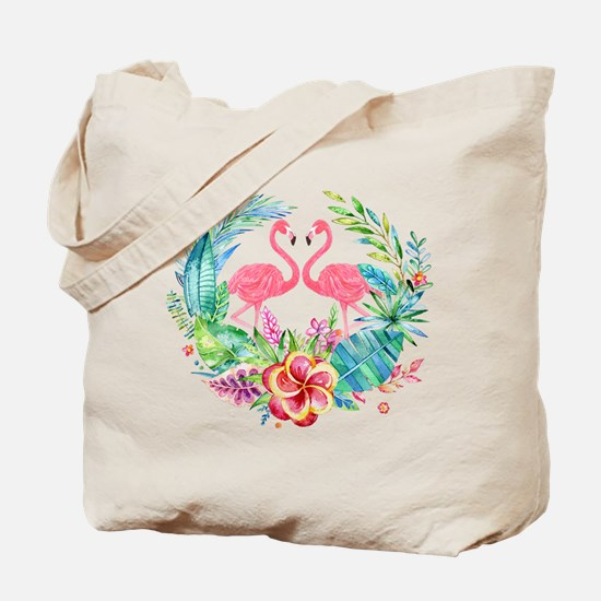 Flamingos With Colorful Tropical Wreath Tote Bag