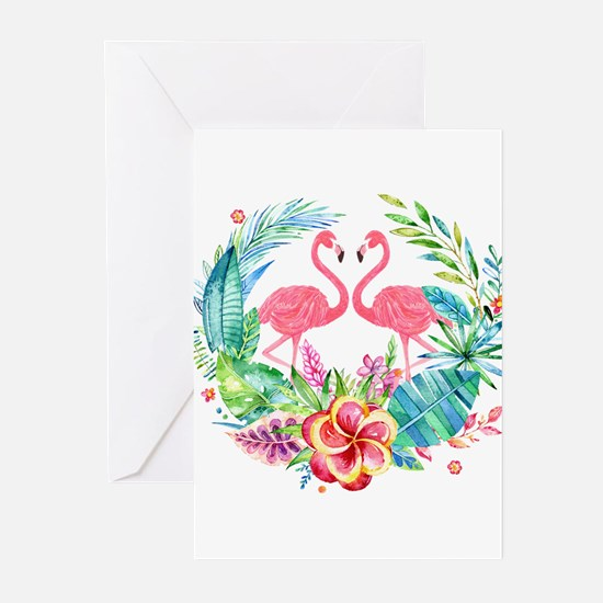 Flamingos With Colorful Tropical Wr Greeting Cards