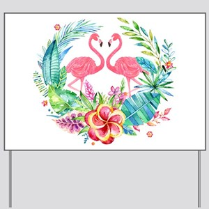 Flamingos With Colorful Tropical Wreath Yard Sign