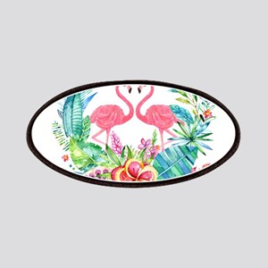 Flamingos With Colorful Tropical Wreath Patch