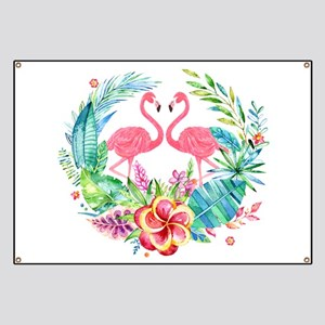 Flamingos With Colorful Tropical Wreath Banner