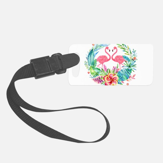 Flamingos With Colorful Tropical Luggage Tag
