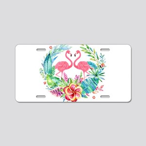 Flamingos With Colorful Tro Aluminum License Plate