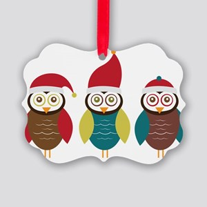 Christmas Owls Picture Ornament