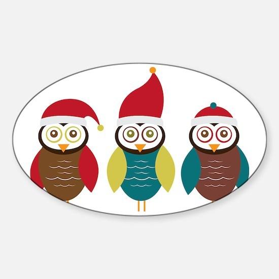 Christmas Owls Sticker (Oval)