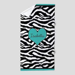 Turquoise Customized Zebra Beach Towel