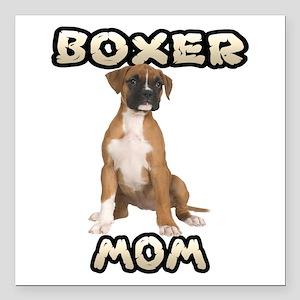 "Boxer Mom Square Car Magnet 3"" x 3"""