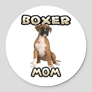 Boxer Mom Round Car Magnet