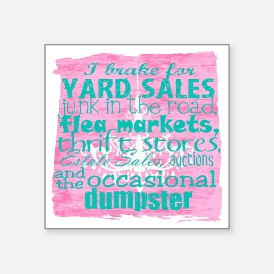 "junker shirt pinkwith blue Square Sticker 3"" x 3"""