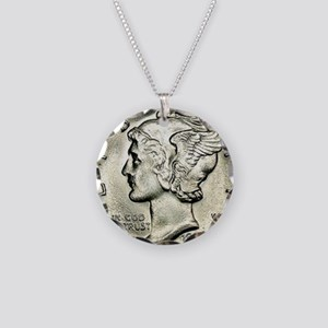 Mercury dime Necklace Circle Charm