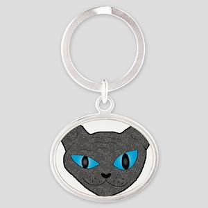 Sphynx Kitty Oval Keychain
