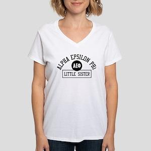 Alpha Epsilon Phi Little At Women's V-Neck T-Shirt