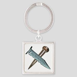 Crossed Blades Square Keychain