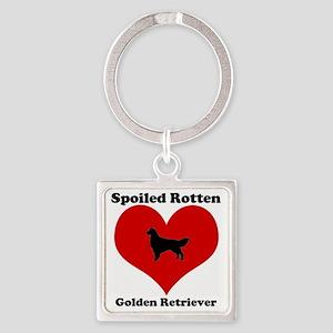 Spoiled Rotten Golden Retriever Square Keychain