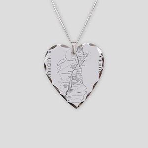 Appalachian Trail Map Necklace Heart Charm