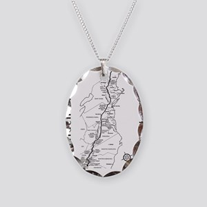Appalachian Trail Map Necklace Oval Charm