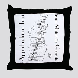 Appalachian Trail Map Throw Pillow