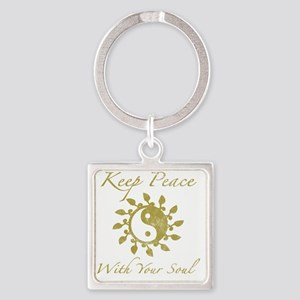 Yin Yang Keep Peace Square Keychain