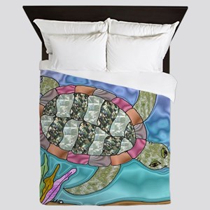 Sea Turtle Sea Horse Art Queen Duvet