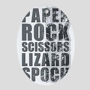 paper rock scissors lizard spock Oval Ornament