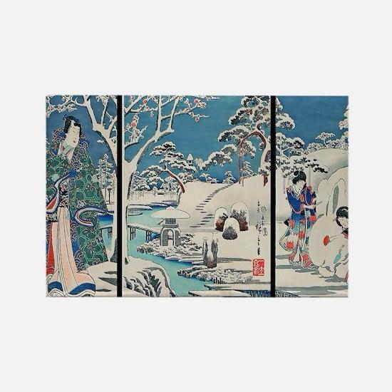 Garden In Snow Hiroshige Rectangle Magnet