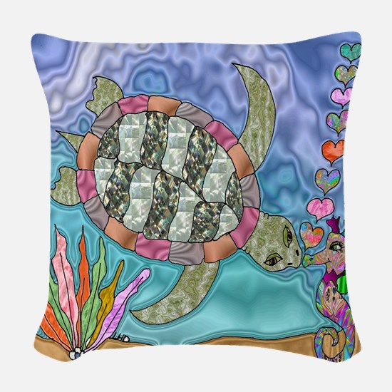 Sea Turtle Sea Horse Art Woven Throw Pillow