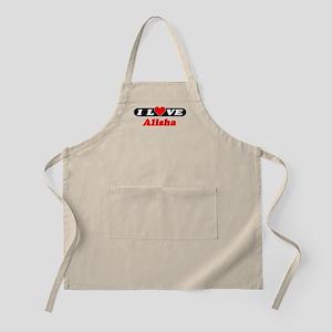 I Love Alisha BBQ Apron