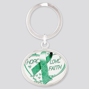 Hope Love Faith Heart copy Oval Keychain